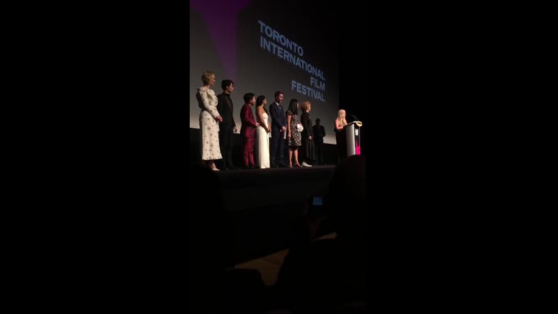 Chloe Bennet's introduction to the AbominableMovie stage by Director Jill Culton at TIFF19