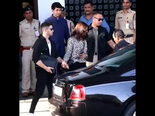 Nick Jonas & Priyanka Chopra at the airport in Mumbai today.