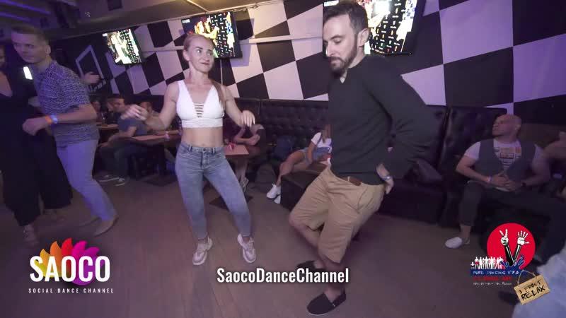 Pako Sanmartin и Ксения Чкалова танцуют сальсу на пре-пати 3 Front Relax 01.08.2019
