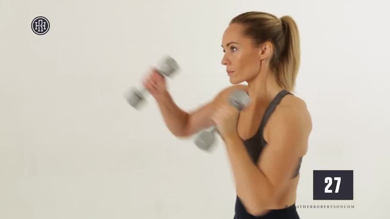 Week 6 Day 1 Shoulders Chest Superset Strength Workout Heather Robertson FREE 12 week workout plan