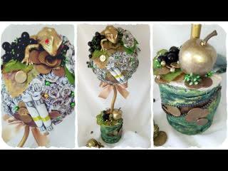 DIY идея денежное дерево топиарий с розами из банкнот. Мастер-класс от студии T. Creative Crafts