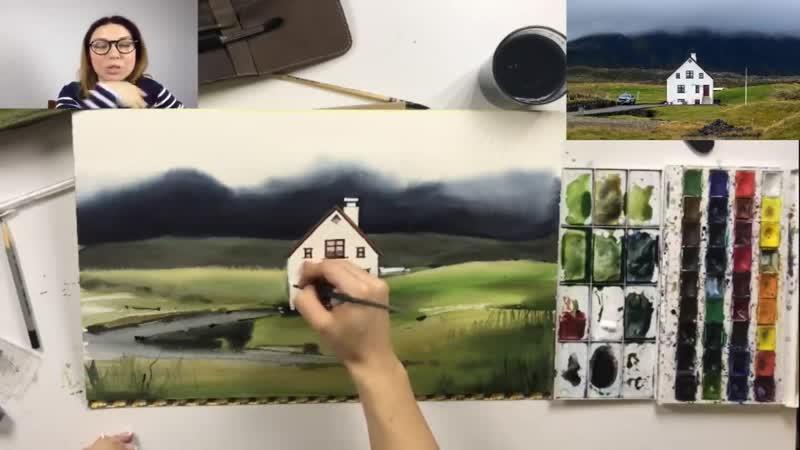 Мастер класс по акварельному скетчингу Дом на краю света Рисуем пейзаж в техн