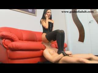 Kristina facesitting femdom by a beautiful brunette in black stockings 14