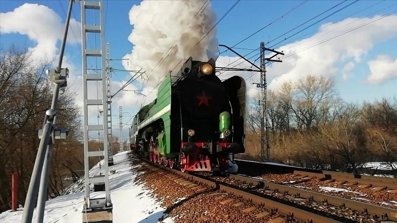 Паровозы П36-0110 и П36-0120 с туристическим поездом на перегоне Тушино - Подмосковная