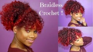 BRAIDLESS CROCHET - HIGH PUFF AND CURLY BANG || Jamaican BOUNCE Crochet Braiding Hair