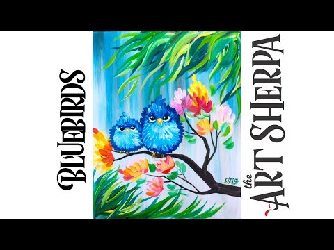 Easy acrylic painting Happy Blue bird mama and Baby with flowers playlive derpsquad TheArtSherpa