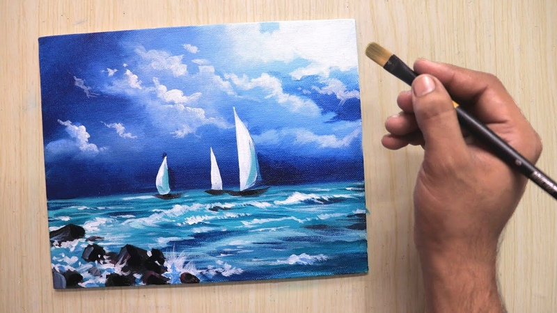 Acrylic painting of beautiful cloudy Seashore landscape with boats