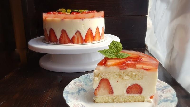 КЛУБНИЧНЫЙ ТОРТ ФРЕЗЬЕ🍓крем дипломат БЕЗ МАСЛА 🍓 Frasier cake recipe