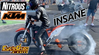 RIDICULOUSLY FAST NITROUS KTM 450 DRAG BIKE CALLS OUT SPORTBIKES!