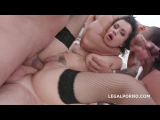 Manhandle stacy bloom 4on1 rough sex balls deep anal, gapes, dap and swallow