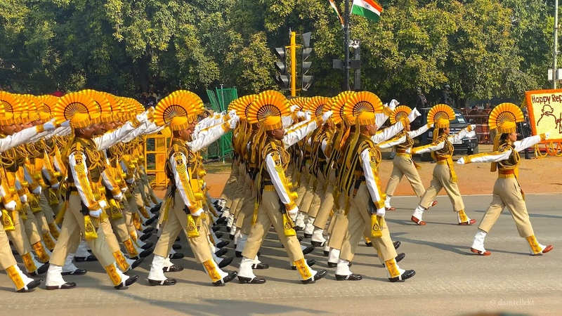 Republic Day Parade 2020 Grand March Past by Indian Defense Regiments and Bands at Rajpath