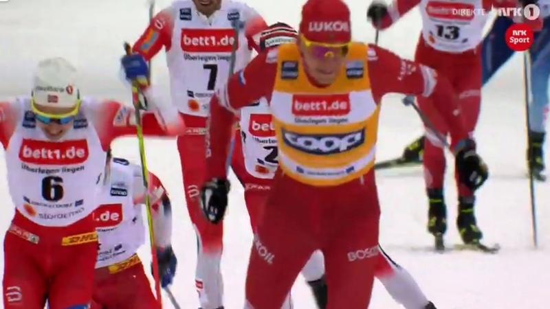 Большунов против Норвежцев Скиатлон Оберстдорф Финиш