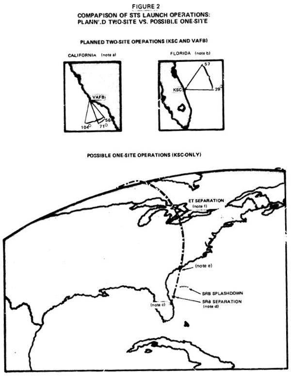 Иллюстрация из отчета Главного бухгалтерии 1978 года (ныне Государственного управления по подотчетности) о необходимости создания в Калифорнии космодрома. Проект отчета GAO рекомендовал использовать Флориду для всех запусков Space Shuttle, включая запуски Министерства обороны на полярную орбиту. Чиновник Министерства обороны утверждал, что это не подходит, отмечая, что запуски над Северным полюсом могут встревожить Советский Союз и заставить их думать, что началась ядерная атака. (кредит: GAO)