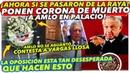 ¡URGENTE Ponen CORONA de MUERTO a AMLO en Palacio Nacional