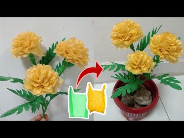 DIY Bunga Marigold dari Plasti Kresek | Marigold Flower with Plastic Bag