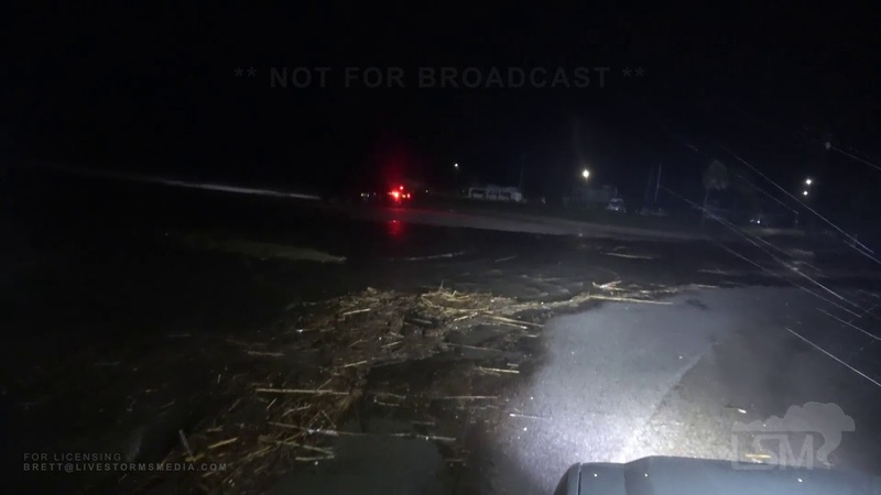 10-19-19 Apalachicola, Florida - Nestor Storm Surge Over Roads - Entering Businesses