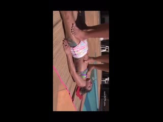 Extreme torture, two female jumping on the third crying girl