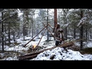 Viking bushcraft trip snow making tipi reindeer sleeping bag cooking meat on hot stone etc