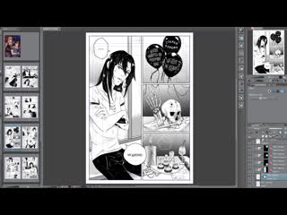 Manga linterpol. digital drawing process.