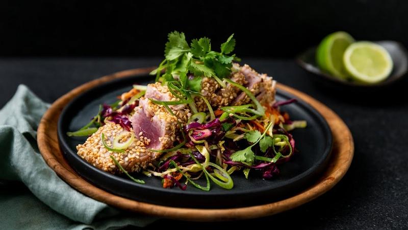 Sesame Tuna Steak With Cabbage Slaw