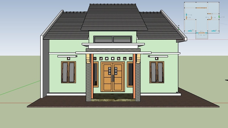 Contoh Model Desain Rumah Minimalis 9x8 3 Kamar Tipe Hook Dengan Pitu Samping dan Halaman Belakang