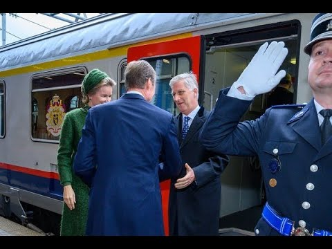 King Philippe and Queen Mathilde State Visit On Luxenburg Take Trian