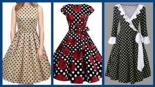 designer skater dresses design collection 2020 polka dot frocks fashion for college and office girls