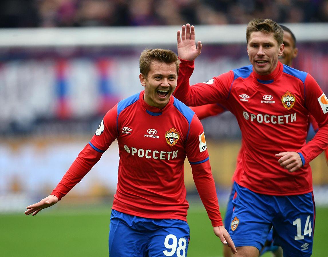 Иван Обляков празднует гол. ПФК ЦСКА