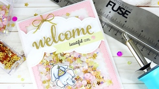 Baby Girl Shaker Card with Fuse Tool by Pretty Pink Posh