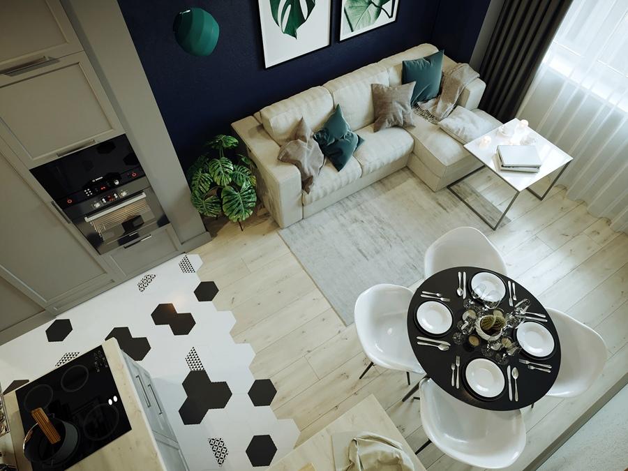 Проект кухни-гостиной в 1-комнатной квартире от дизайнера Татьяны Воробьевой.