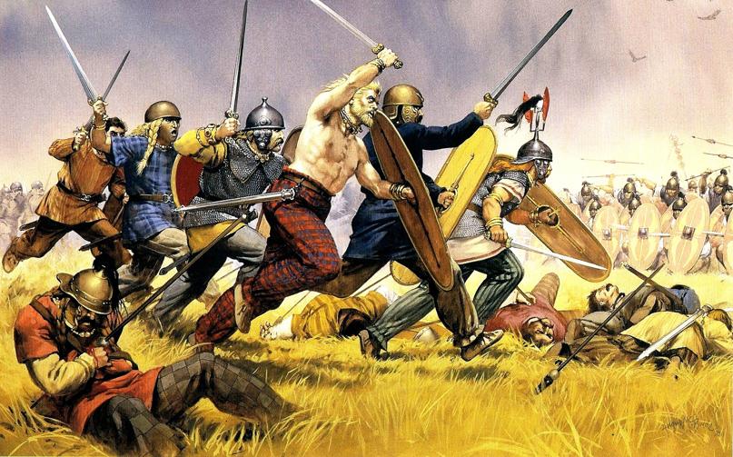 «Когда варвары увидали, что римляне выходят из лагеря, они не остались на месте, а наскочили на них и не позволили им как следует выстроиться, бегом напали на них с криком и отняли у них возможность воспользоваться дротиками на что те особенно рассчитывали. Варвары подошли к римлянам настолько вплотную, что не могли употребить в дело копья и слишком длинные мечи. … Наконец, возможно дольше затянув такого рода битву, римляне, хотя и поздно, но одолели. Да и сами они могут дольше выдерживать такое напряжение и выносливее варваров, у которых выносливость не равняется быстроте атак. Поэтому последние были разбиты, однако не были обращены в бегство не потому, что они этого не захотели, а потому что они не смогли бежать из-за безвыходности своего положения и истощения. ... Поэтому римляне стали вырывать у них щиты и, нападая на них одни с разбегу, а другие изблизи, как-то на них наскакивали и их рубили. С этого момента многие из них падали с первого удара, а многие умирали, еще не успев упасть, так как от тесноты их строя даже мертвецы держались прямо. Так там, было уничтожено большинство пехоты. А те, кто случайно попал с поля к повозкам, погибали около них вместе с женщинами и детьми. Ариовист с конницею покинул эту местность и ушел к Рейну» (с) Дион Кассий