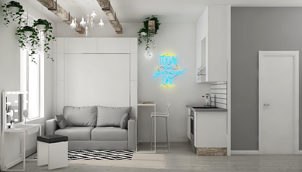 Проект маленькой студии с откидной кроватью-диваном.