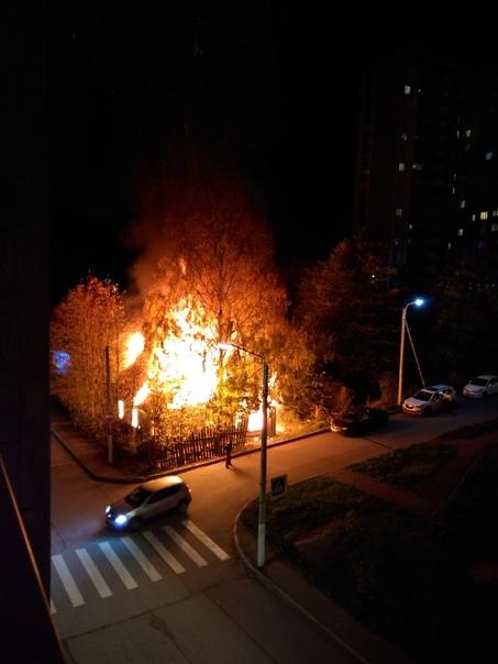 На Травяной улице пожар. Горит заброшенный деревян...