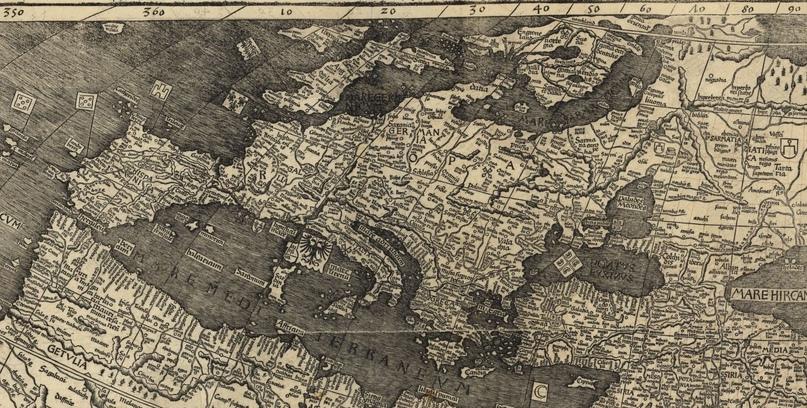 Европа. Карта Мартина Вальдзеемюллера (1507)