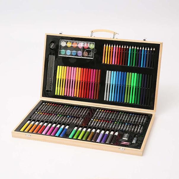180 шт./компл. Детские художественные наборы для рисования детская картина деревянная коробка Акварельная ручка карандаш набор для рисования детский подарок на