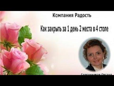 КОМПАНИЯ РАДОСТЬ ШКОЛА Как закрыть за 1 день 2 места в 4 столе Оксана Середницкая