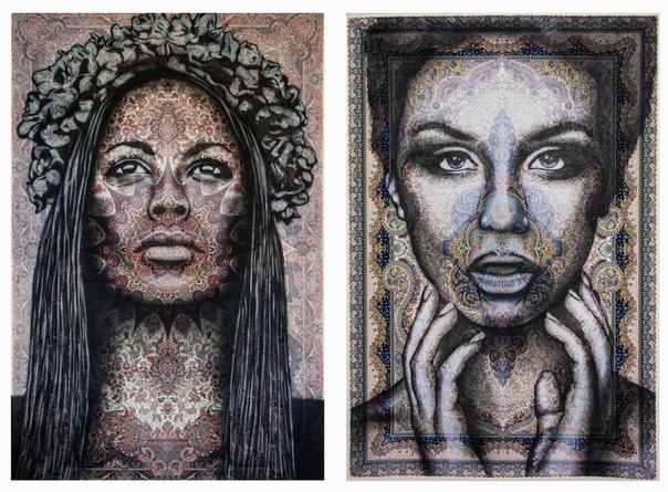 Художник создает женские портреты на персидских коврах