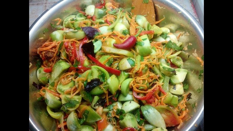 Зелёные помидоры по- корейски на зиму. Просто и вкусно!