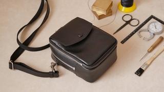【レザークラフト】ミニショルダーバッグを作る〈型紙公開〉工業用ミシン|Leather craft bag